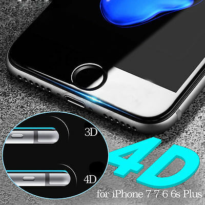 4D Full Cover Tempered Glass Round Curved Screen Protector For iPhone 8 6 7 Plus