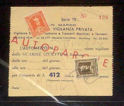 1952 Used parcel ticket from Italy - with stamps