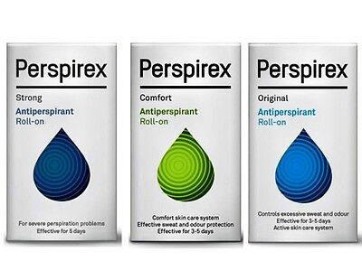 Perspirex Antiperspirant Roll On 20ml - Choose from Original, Comfort or Strong