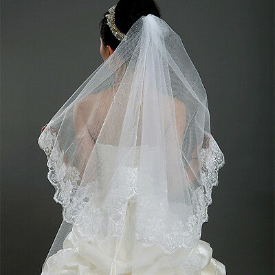 1T Elbow Length Lace Flower Edge Wedding Tulle Cathedral Bridal Veil White Ivory