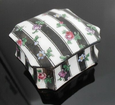 Antique CROWN STAFFORDSHIRE snuff box handpainted flowers AD1601 porcelain