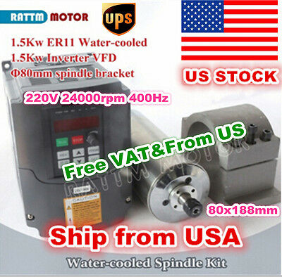 【US STOCK】1.5KW Water Cooled Spindle Motor ER11&VFD Inverter 220V&80mm Clamp CNC
