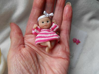 OOAK handmade miniature sulpt  5 cm  clay baby  jonted doll  1/12th  by Carol