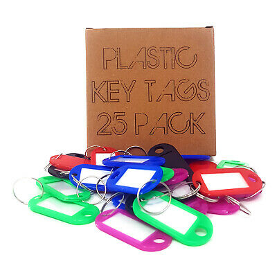 25 x Assorted Key Tags Key Ring Plastic FOB Label Name Car ID Tag Mixed Identity