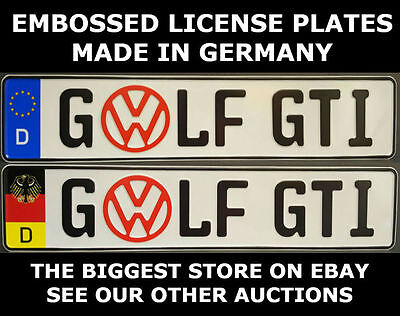 Golf GTI VW German Germany Euro European License Plate Ready Text Alu Volkswagen