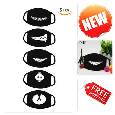 Anti-Dust Face Mouth Mask 5 Pack Teeth Pattern Unisex Cotton Blend Comfortable
