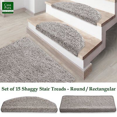 Shaggy Stair Mats Silver Stair Treads Non Slip Soft Thick Pile Staircase Carpet