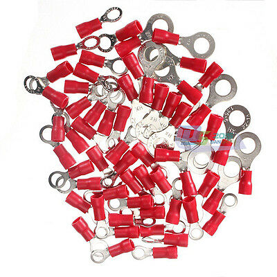 100PC Red Insulated Ring Terminal Electrical Splice Crimp Cable Connector Wiring