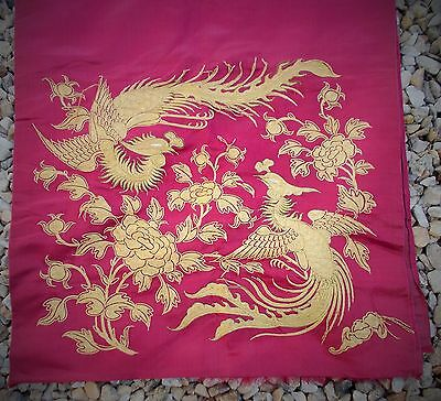 antique chinese hand embroidered silk panel some loose gold silk thread damage