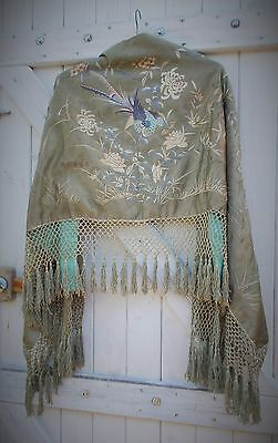antique chinese hand embroidered silk stole with hand knotted fringe damaged