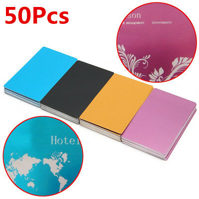 50Pcs Colorful Aluminum Alloy Laser Marking Business Card Blank 85x54x0.17MM