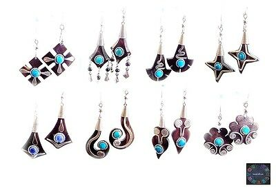 Lot 10 Ethnic Bull's Horn Earring Sets Made w/ Alpaca Silver Peru Art - Stock UK