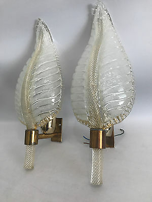 Pair Glass Leaf Design Sconce Barovier & Toso Murano 50s 60s Wandlampen Vintage