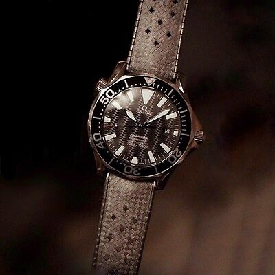 20mm Vintage Style Black Rubber Tropic Strap & Buckle for Omega Seamaster