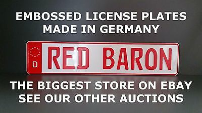 Red Baron German Germany Euro European License Plate Number Plate Embossed Alu