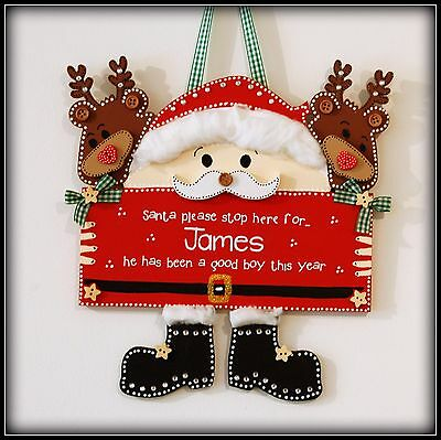 Christmas Plaque PERSONALISED Santa Stop Here Gift ANY NAME  Cute Xmas Wooden