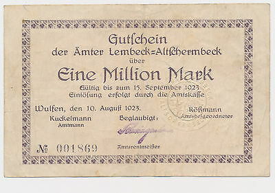 WULFEN Lembeck  Altschermbeck  1 Million  Mark  Westfalen  Notgeld 1923  (75