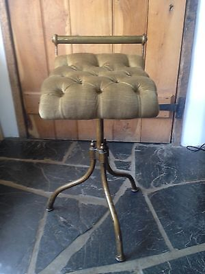 Antique Piano Stool with Cushioned Seat