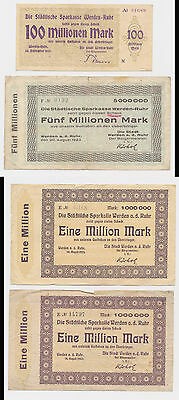 WERDEN 106 Million Mark  4x Banknoten  Westfalen  Notgeld 1923  (77
