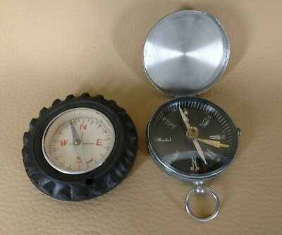 Two Vintage Compass Metal and Tire