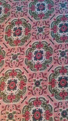 "Antique Vintage Roses Cotton Fabric light weight barkcloth Estate find 42"" wide"
