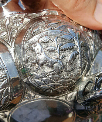 Late Victorian Era c1890 Figural Anglo Indian Solid Silver Bowl Lucknow India