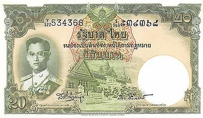 Thailand  20 Baht  ND.1953  P 77d  Series Y/322 Sign. # 41 Uncirculated Banknote