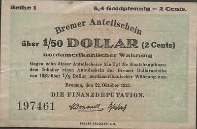 Germany 1/50 8,4 Gold Pfennig = 2 cent 22.10.1923  Circulated Banknote Rare