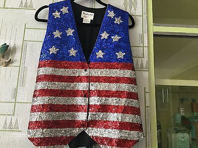 Stars/stripes,country and western,line dancing sequinned waistcoat.42""