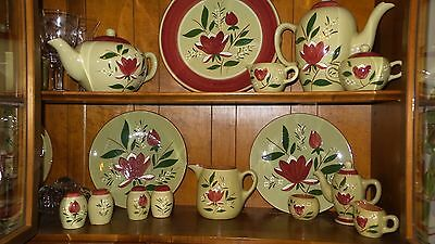 Lot Stangl Pottery Magnolia Pattern as seen in photo (no crystal).