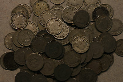 """Lot of 100 Liberty head """"V"""" nickels, average circulated/some better"""