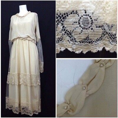 Late 1910s Creme Silk Lace Pearl Trim Tea Length Wedding Dress Gown Small