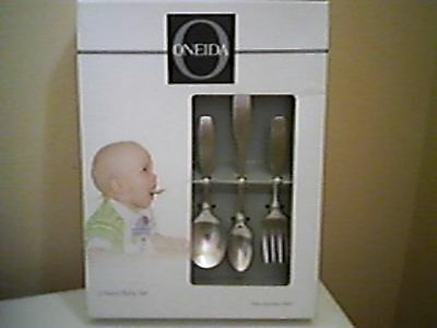 "Baby 3 piece Stainless Flatware Set - Oneida ""Paul Revere"" 2 spoons, fork NEW"