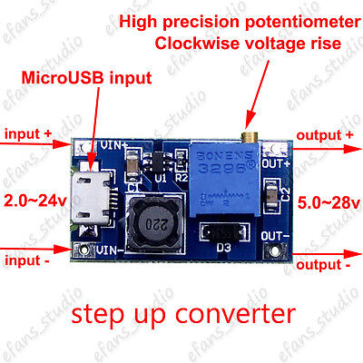 2A DC-DC Adjustable boost step-up Converter module MicroUSB 3V-24V to 5v 12v 24v