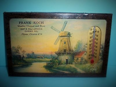 Frank Koch Quality Cleaner & Dyer Framed Wall Thermometer Cicero,IL Ph Cicero476