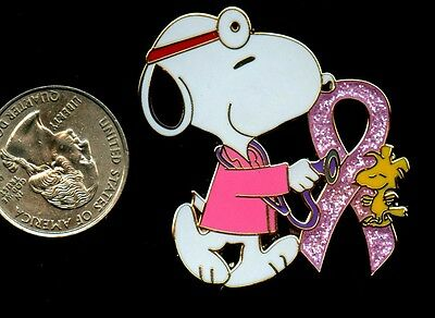 peanuts  snoopy  pin 1.75 inch  metal lapel pin pink ribbon doctor md red cross