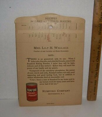 1926 RUMFORD COMPANY BAKING POWDER Recipes For Cake & Cookies Lily H. Wallace