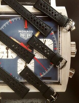 22mm Perforated Heuer Black Leather Watch Strap & Buckle Monaco Corfam
