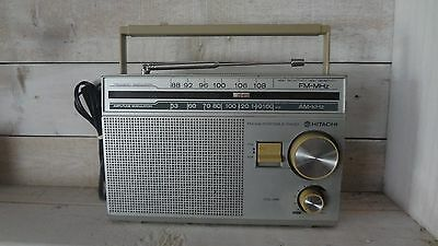 RARE Vintage Hitachi AM FM Portable Radio KH-437HC! Corded and Battery Operated