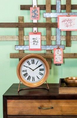 Copper Metal Clock with Stand Modern Decor Shelf Mantle Or Table Clock