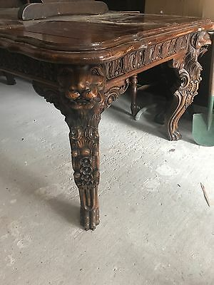 antique carved table 85inces long x 31 inches high