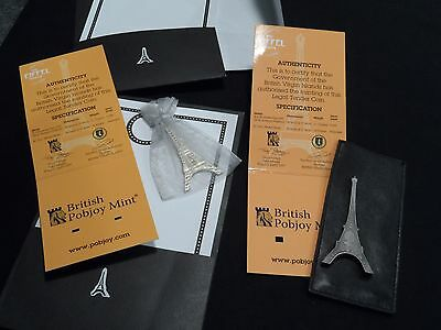 BVI Virgin Islands Eiffel Tower Shaped Coins 2014 2 Coin Set in Folder with COA