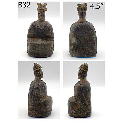 Rare Old Bactrian Near Eastern Royal Emperor Idol Stone Statue #B32