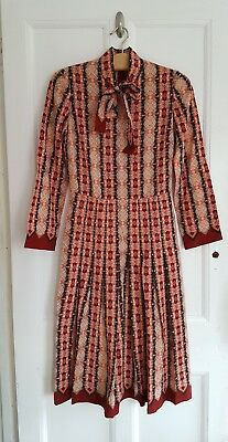 Vintage Lanvin Paris Patterned 100% Wool Pussy Bow Shirtwaister Dress Size 40/10