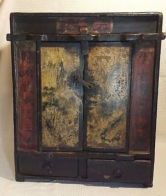 Antique Chinese Wooden Altar Ancestral Box / Stand Shrine Cabinet Hand painted