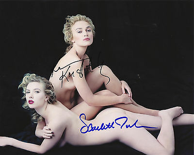 Keira Knightley & Scarlett Johansson Autograph Signed Pp Photo Poster
