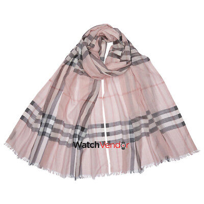 Burberry Lightweight Check Wool and Silk Scarf - Ash Rose