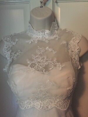 White Lace Wedding Dress Bolero Topper Xsmall vintage inspired