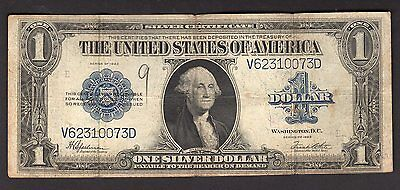 1923 One Dollar Silver Certificate Horse Blanket Circulated Speelman White Note