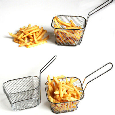 Stainless Steel Mini Deep Fryer Basket Net Mesh Chip Potato Snacks Kitchen Tool